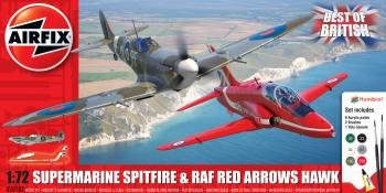 Airfix Best of British Gift Set – Supermarine Spitfire & RAF Red Arrows Hawk